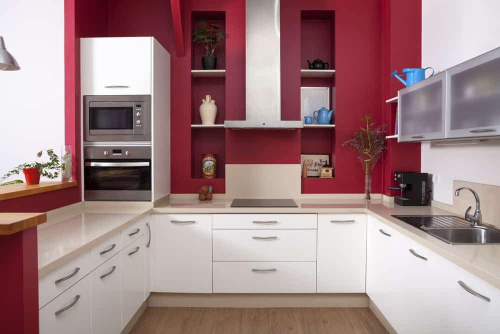 Red Walls and White Cabinets red kitchen ideas
