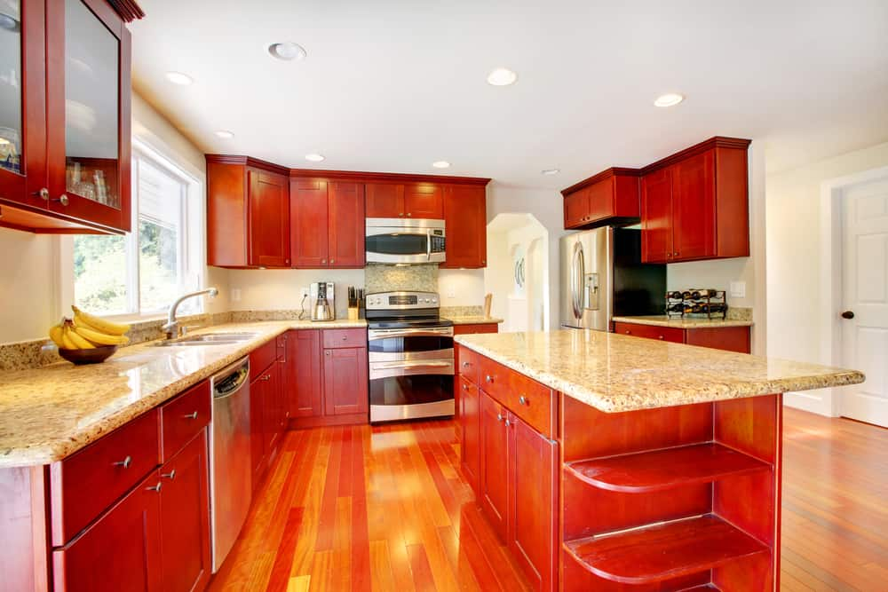 Red Wood Kitchen red kitchen ideas