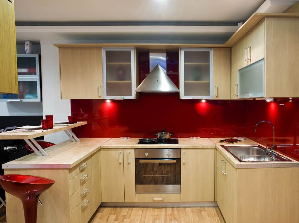 Red and Wooden Kitchen red kitchen ideas