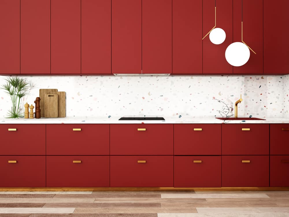 Red with Gold Highlights red kitchen ideas