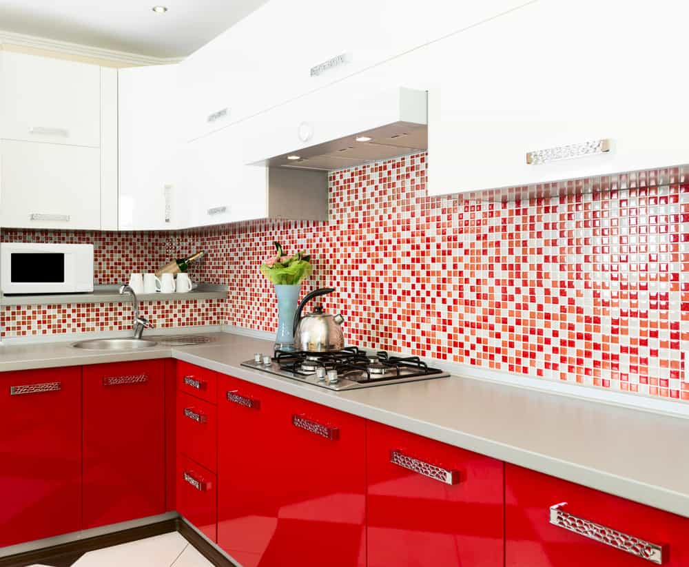 Small Red Tiled Backsplash red kitchen ideas