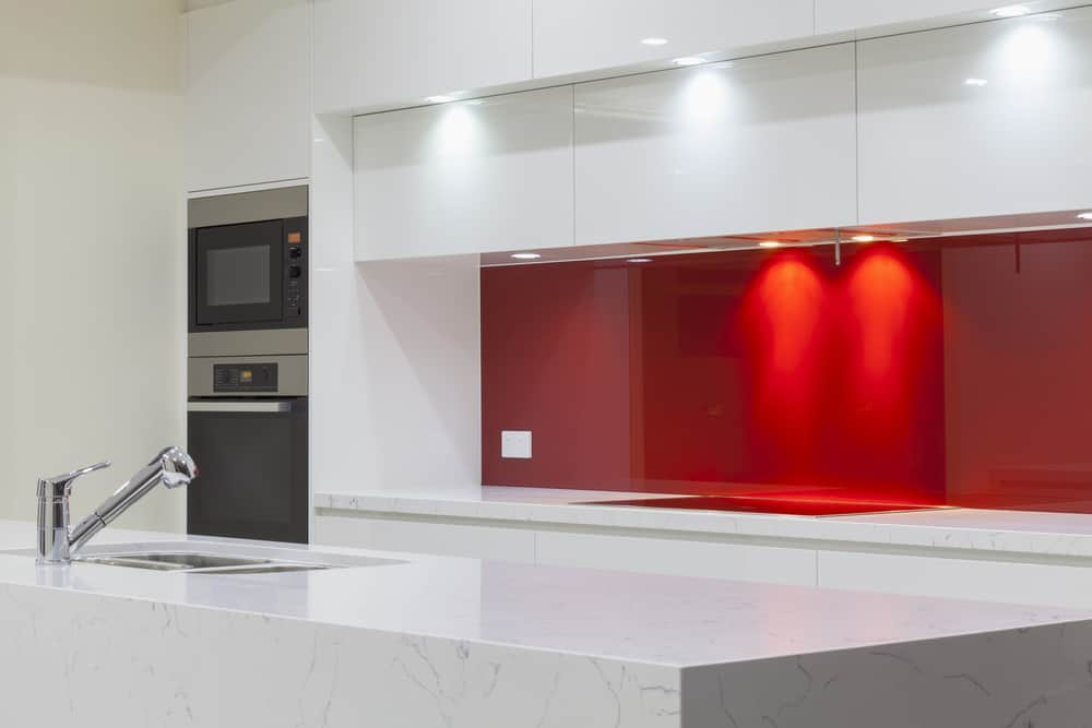 Solid Red Backsplash red kitchen ideas