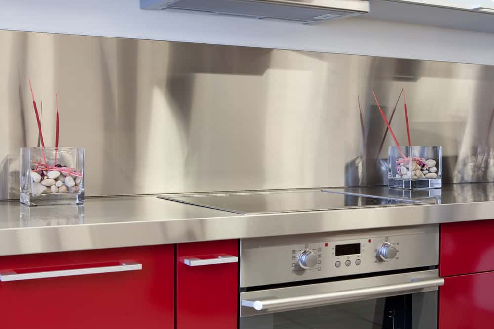 Steel on Red kitchen countertop design ideas