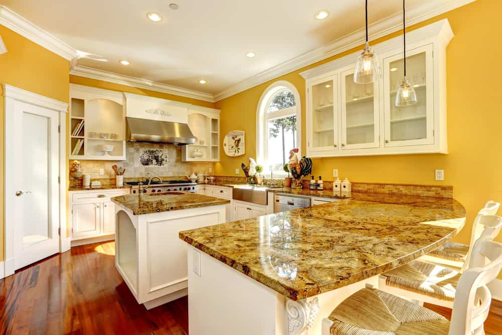 Supplement your Yellow Walls with Granite or Stone Textures yellow kitchen ideas