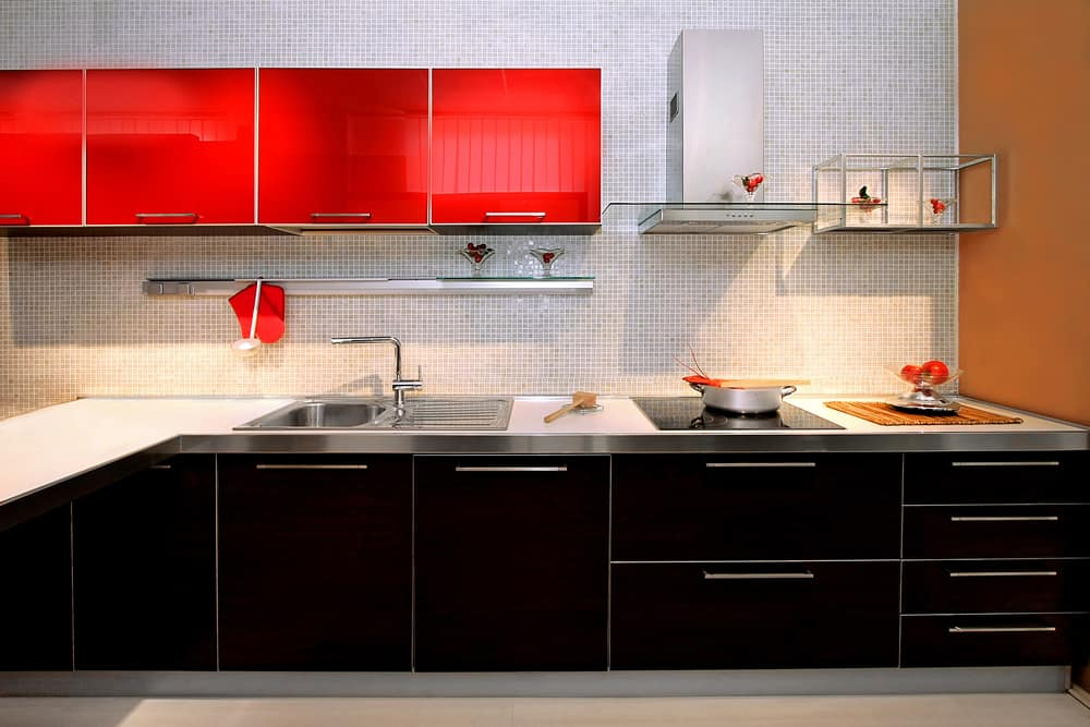 Upper Red Cabinets red kitchen ideas