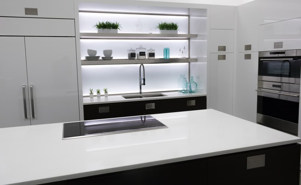 White Quartz kitchen countertop design ideas