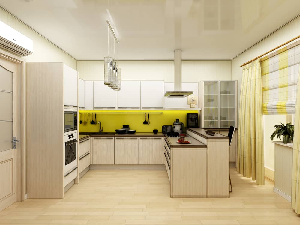 Yellow Curtain and Blinds yellow kitchen ideas