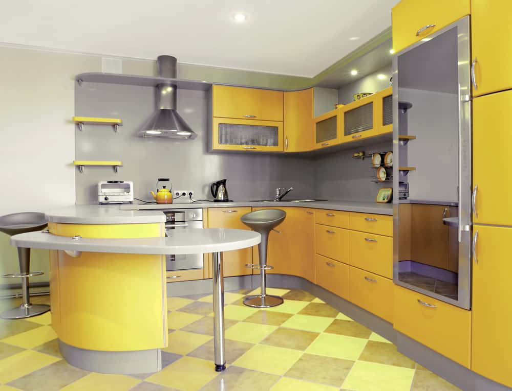 Yellow and Silver retro kitchen ideas